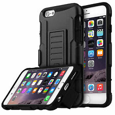 Rugged Hybrid Armor Impact Black Hard Case Belt Clip Holster Kickstand Cover