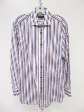 AUTHENTIC Mens Etro Milano Pink Blue Multi Striped Button Down Dress Shirt 40