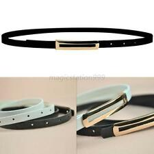 Women Skinny PU Leather Belt Adjustable Thin Buckle Waist Belt Waistband