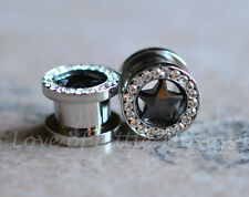 Pair Star Gem CZ Screw Fit 316 Stainless Steel Tunnels Ear Plugs Earlets Gauges