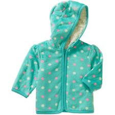 New Baby Toddler Girls Sherpa Micro Fleece Hoodie faux fur lining Zip 3-6M 18M