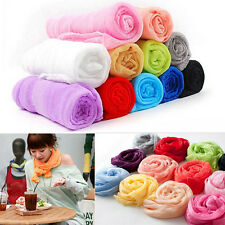 Women Girl Candy Color Long Soft Silk Chiffon Neck Scarf Wrap Shawl Scarves SS