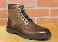 La Milano Men's Brown Leather Wing Tip With Suede Dress Boots Style #B51312