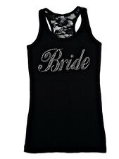 Bride Big Script Rhinestone Tank Top with 1/2 lace back . Bride Bling Ribbed Top