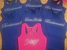 BRIDESMAID BLING LOT SET 7 TANKS . PACKAGE OF SEVEN WEDDING PARTY LACE TANK TOPS