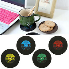 Coaster Record Discs Cup Drinks Holder Mat Tableware Placemat Round Vinyl Retro