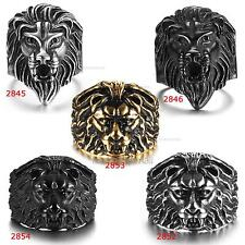 Fashion Mens Jewelry Punk Biker MotorCycle 316L Stainless Steel Lion Head Ring