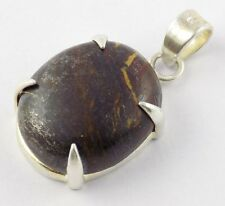AAA Natural Iron Tiger Eye Oval Gemstone 925 Sterling Silver Pendant Jewellery