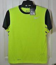 NWT BOYS YOUTH NIKE DRI-FIT YELLOW TRAINING SHORT SLEEVE CREW NECK T SHIRT SZ L