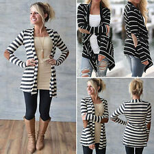 Womens Striped Cardigan Long Sleeve Coats Winter Jacket Sweater Hoodie Blouse