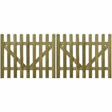 2 pcs Wooden Picket Fence Gate Impregnated Pinewood Garden Farm Field 4 Sizes