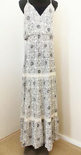 Womens NEW Love Stitch dress Ivory and Grey Crochet Maxi printed  Dress MED $69