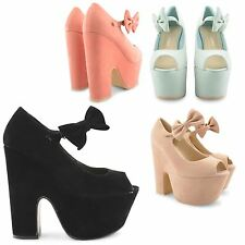 NEW WOMENS BLOCK HIGH HEEL PLATFORM FAUX SUEDE CHIC BOW SANDALS LADIES SHOES