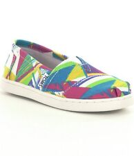 NWT GIRLS YOUTH CLASSICS TOMS BRIGHT MULTI CANVAS TRIANGLES FLATS SHOES SZ 3Y-6Y
