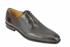 Mens Vintage Woven effect Real Leather Lace up Smart Formal Dress Shoes in Brown