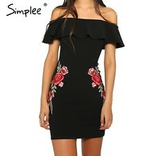 Simplee Sexy off shoulder ruffle women dress Flower embroidery bodycon summer dr