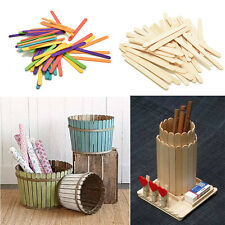 Wooden Popsicle Sticks for Party Kids DIY Crafts Ice Cream Pop 50/100Pcs