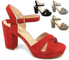 LADIES FAUX SUEDE ANKLE STRAP PLATFORM CHUNKY HIGH HEEL SANDALS SHOES SIZE 3-8