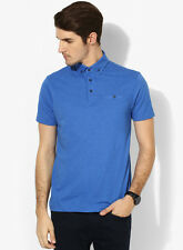 Burton Blue Solid Regular Fit Polo T-Shirt