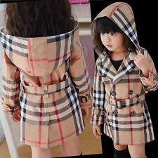 Girls Coat Jacket Spring Fall Cotton Plaid Long Sleeve Beige Size 2T-6