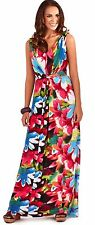 Summery Ladies Full Length Floral Sleeveless Dress with Twist Knot, Black/Pink