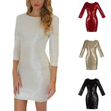 Women Sequins Dress Bridesmaid Mini Dress Prom Evening Gown Party Bodycon  A75