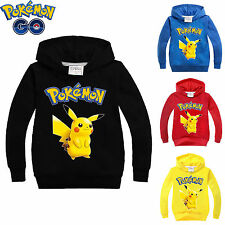 Kids Girls Boys Hoodies Long Sleeve POKEMON GO Childrens Cosplay Costume 3-10Y