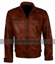 Mens Fashion Vintage Rust Brown Real Motorcycle Styled Smart Bike Rider Jacket
