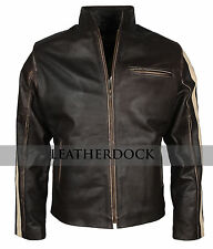 Men Disstressed Brown Cafe Racer Casual Motorcycle Styled  Biker Leather Jacket