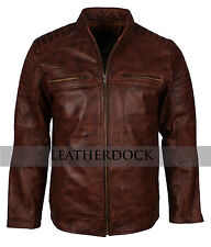 Men Vintage Brown Cafe Racer Antique Biker Genuine Leather Motorcycle Jacket