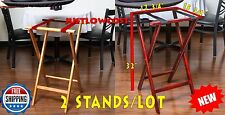 """32"""" Folding Food Wood Tray Stand Chair Bistro Restaurant Dining Waiter, 2 STANDS"""