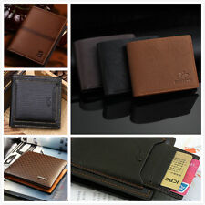 New Black Mens Leather Bifold Wallet Business Credit/ID Card Holder Slim Purse