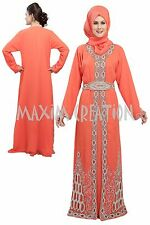 NEW GEORGETTE FANCY BRIDAL NEW ELEGANT CAFTAN ARABIAN ISLAMIC THOBE  DRESS  5170