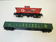 Lot 2 HO Scale Trains Maine Central Atlas 644 Caboose & MEC 1115 Ribbed Gondola