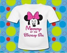 Pink Polka Dot Bow Mommy of the birthday girl Minnie Mouse T Shirt all sizes