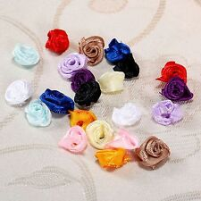 100X Satin Ribbon Rose Flower Wedding Valentine Clothes Appliques DIY Craft 15mm