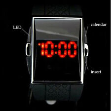Sport Red LED Mens Quartz Date with Black Silicone Band Wrist Watch