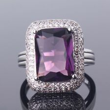 Radiant Cut Purple Amethyst 18K White Gold Filled Ring Jewelry Size M/O/Q/R/T