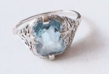 Vintage Antique 5 ct Aquamarine 18K White Gold Art Deco Cocktail Ring