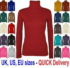 NEW LADIES LONG SLEEVE TURTLE POLO NECK TOP WOMENS TOP JUMPER 6-24 'polo