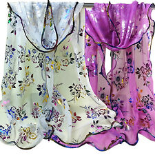 Women's Floral Embroidered Tulle Scarf Long Soft Sheer Wrap Shawl Stole Healthy