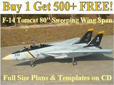 "F-14 Tomcat 80"" WS Giant Scale RC Airplane Plans & Templates on CD in PDF Format"