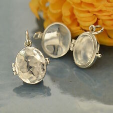 925 Sterling Silver Oval Locket Pendant Charm Necklace Hammered Finish