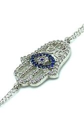 Sterling Silver Hamsa Evil Eye Bracelet Womens Fashion Jewelry Protection #9072