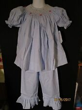 BLUE & WT MICRO CHECK NEW SMOCKED BISHOP TOP W/ RUFFLE PANTS REMEMBER NGUYEN