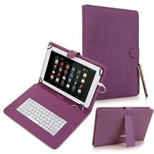 "For Android 7"" Tablet Universal Kickstand Leather USB Keyboard Box Case Purple"