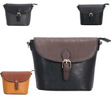 Ladies Saddle Fashion Cross Over Shoulder Messenger Faux Leather Satchel Bag