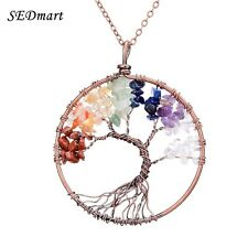 7 Chakra Tree Of Life Pendant Necklace Copper Rose Quartz Turquoise