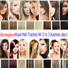 CLIP IN 100% REMY REAL HUMAN HAIR EXTENSIONS 7PCS FULL HEAD HAIR ANY LENGTH