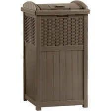 Waste Container Garbage Bin Outdoor Trash Can Hideaway Resin Wicker Patio
